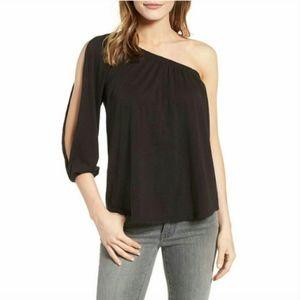 [Velvet] NWT slub long sleeve one shoulder blouse